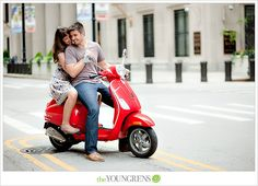 Chicago engagement session, Chicago potraits, downtown Chicago engagement session, Vespa engagement session, portrait session with a scooter, urban engagement, Anthropologie engagement