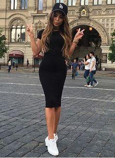 Women's Long Dress Sexy Bodycon Party Dress Category: Women's Dresses Style: Casual Material: Cotton,Spandex Season: Summer Dresses Length: Mid-Calf Neckline: O-Neck Trendy Dresses, Sexy Dresses, Casual Dresses, Fashion Dresses, Casual Outfits, Short Sleeve Dresses, Midi Dresses, Casual Shoes, Elegant Dresses