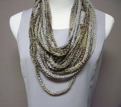 Crochet Cotton Summer Necklace in Shades of Brown and Taupe