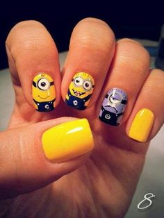 50 Adorable Despicable Me Minion Nail Designs super cute! I love Despicable me 1 and 2 and those jolly little minions! Gorgeous Nails, Love Nails, How To Do Nails, Fun Nails, Pretty Nails, Minion Nail Art, Disney Nails, Cute Nail Art, Cute Nail Designs