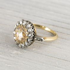 Mixed Metal!!!! Image of 1.35 Carat Antique Edwardian Yellow-Brown Rose Cut Diamond Engagement Ring