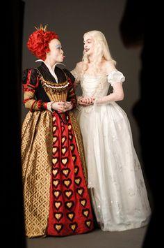 Portrait of Helena Bonham Carter and Anne Hathaway for Alice in Wonderland directed by Tim Burton, 2010