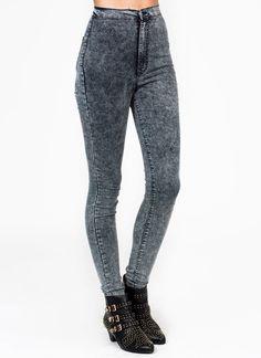 high-waisted acid wash jeans Go Jane