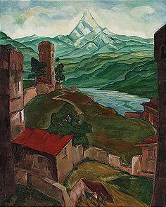 Lado Davidovich Gudiashvili, 1896-1980view of svanetia, georgiasigned l.l. and dated 1923oil on canvas