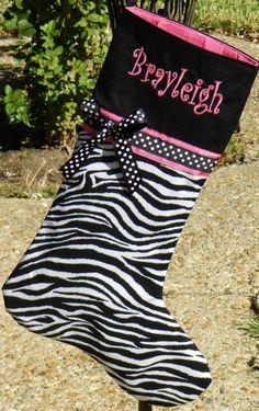 Zebra and pink stocking!!! <3  Gotta find one for Brianna. :o}