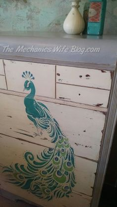 Peacock Waterfall Dresser painted using Annie Sloan Chalk Paints.   The Mechanics Wife Blog | Dreaming, Creating and Doing!