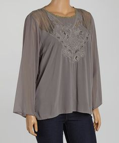 Look what I found on #zulily! Taupe Filigree Embroider Swing Top - Plus by Zenobia #zulilyfinds