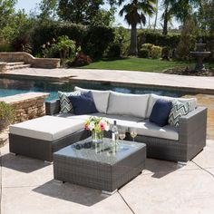 Francisco Outdoor 5-piece Grey Wicker Seating Sectional Set with Cushions - . Buy now at http://fashionretailnews.com/francisco-outdoor-5-piece-grey-wicker-seating-sectional-set-with-cushions.html