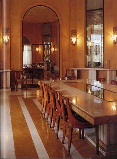 Custom Marble Deco Dining Table and Lalique Sconces- Laza House  Havana, Cuba