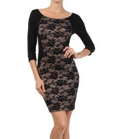Black & Khaki Lace Boatneck Dress | zulily