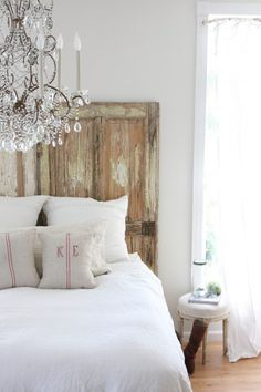 Rustic wood doors with crystal chandelier