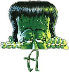 Alfabeto animado de Frankenstein guiñando el ojo.