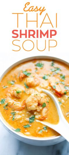 Easy Thai Shrimp Soup Skip the take-out and try making this at home – it's unbelievably easy and tastier and healthier! - Easy Thai Shrimp Soup - Skip the take-out and try making this at home - it's unbelievably easy and tastier and healthier! Thai Shrimp Soup, Thai Soup, Coconut Curry Soup, Thai Noodle Soups, Thai Coconut Curry Chicken, Shrimp Coconut Milk, Prawn Soup, Shrimp Bisque, Indian Recipes