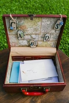 Travel-Inspired Card Box | Photography: Love and Water Photography. Read More:  http://www.insideweddings.com/weddings/destination-hawaiian-wedding-with-travel-vintage-theme-in-maui/772/