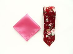Burgundy floral tie pink pocket square wedding maroon floral tie gift for him groomsmen uk by TheStyleHubTrends on Etsy