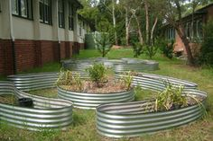 corrugated steel garden bed