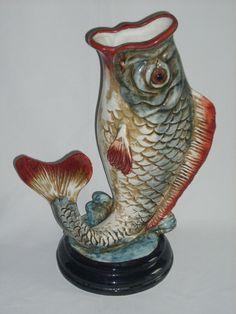 Vintage Majolica Fish Vase, ceramic art pottery.