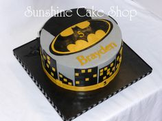 "Batman Theme Cake - 9"" round cake. Buttercream with fondant decorations."