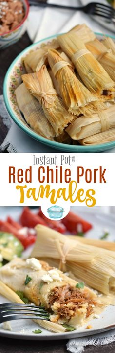 Slightly spicy pork surrounded by tender corn masa dough make these Instant Pot Red Chile Pork Tamales an instant family favorite!! © COOKING WITH CURLS