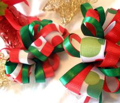 Girls Boutique Pigtail Hair Bows - Christmas Loopy Piggie Bows - Pigtails, Christmas, Holiday, Red, Green     #EtsyRockStars #handmadebot #shopetsy