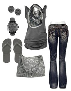 A fashion look from May 2013 featuring Rock Revival jeans, Gandys flip flops and GUESS watches. Browse and shop related looks. Cool Outfits, Casual Outfits, Fashion Outfits, Womens Fashion, Casual Wear, Night Outfits, Spring Summer Fashion, Spring Outfits, Spring Clothes