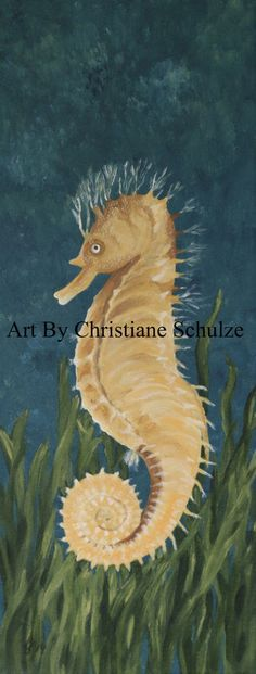 Painting  Yellow Longsnout Seahorse  / Acryl auf Leinwand