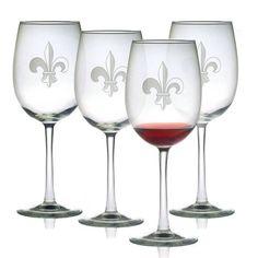 Fleur de Lis Design Wine Glasses