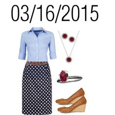 Blue Oxford Shirt with Blue & White Polka Dot Skirt, Brown Belt, and Nude Wedges: Monday, March 16, 2015 by josiegirl77 on Polyvore featuring Swarovski and Forever 21