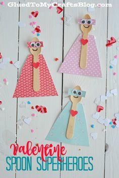 Valentine Spoon Superheroes -  super cute Valentine's day craft for kids!
