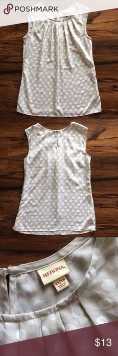 Selling this Grey & White Polka-Dot Sleeveless Blouse, size XS on Poshmark! My username is: ksreeder. #shopmycloset #poshmark #fashion #shopping #style #forsale #Merona #Tops