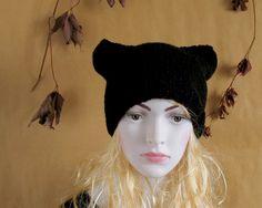 Cat Ear Hat Black Cat Hat Knit Cat Ear Hat Cat Beanie Womens Cat Hat Hat BLACK Hand knitted Knit Hat Cat Hat Cat Beanie
