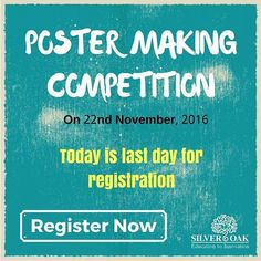 Soft Skills Training Team is going to organize a POSTER MAKING COMPETITION Silver Oak College Of Engineering & Technology.  Today is a last day for registration. Interested students can register before 3.00 PM on following link.  Registration Link : http://ift.tt/2fYBifO  Date: 22 November 2016 Time: 10: AM -12:00 PM Venue: Millennium Hall  Themes for competition are as follows :  1. INNOVATION IS THE CALLING CARD OF THE FUTURE 2. LET ME AWAKE THE SOCIETY 3. TORCHBEARERS FOR ECONOMIC…
