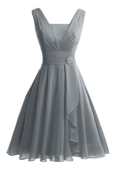 VP Women´s Tank Short Knee-Length Prom Evening Gown Bridesmaid Dress Steel Grey