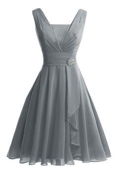 VP Women´s Tank Short Knee-Length Prom Evening Gown Bridesmaid Dress Steel Grey