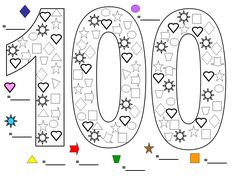 Here's a great colouring worksheet I made up for 100 Days at school