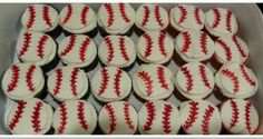 Baseball cupcakes with fondant toppers