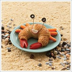 Crab! - Instead of a croissant I could use crackers and then make the legs and claws out of cheese.