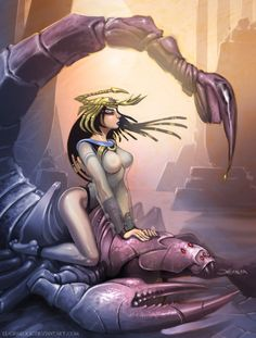 Serket or Selket- Egyptian myth: the scorpion goddess that heals the ones who have been poisoned by scorpion stings or snake bites and the goddess of stinging the unrighteous. She was depicted with a scorpion on her head.