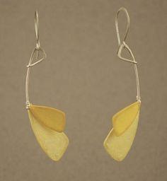 Wing, Yellow Earrings by Tia Kramer