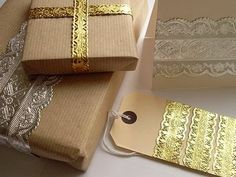 You can use foil ribbon in your Christmas gift wrapping when you make the Luxe Ribbon Gift Wrap. This creative gift packaging is a beautiful and unique way to give gifts at Christmas. Wedding Gift Wrapping, Christmas Gift Wrapping, Wedding Gifts, Christmas Ideas, Christmas Boxes, Elegant Christmas, Vintage Christmas, Christmas Decorations, Diwali Gifts