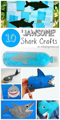 10 jawsome shark crafts and kids activities for Shark Week or a ocean unit! Shark Activities, Craft Activities For Kids, Preschool Crafts, Fun Crafts, Nature Activities, Vocabulary Activities, Craft Ideas, Summer Crafts For Toddlers, Toddler Crafts