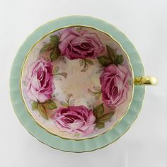 Aynsley Cabbage Rose Tea Cup and Saucer, Pink Roses, Green Tea Cup, Bone China