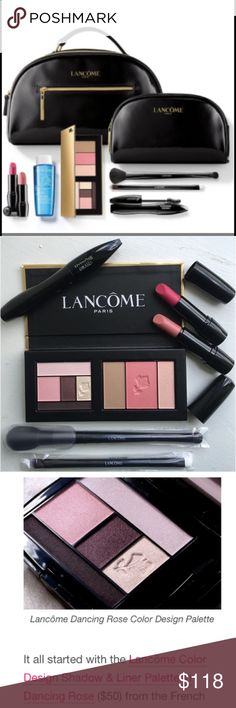 🆕 Lancôme Spring 9Pc Full Sz Gorgeous Beauty Box 🆕 Lancôme Spring 9Pc Full Sz Gorgeous Beauty Box. Includes: Eyeshadow & Blush Palette in Dancing Roses & Rose Flush, Hypnose Mascara in Deepest Black, Lipstick in Corset (Matte) Love It (Sheen), Double Ended Cheek+Highlight Brush, Double Ended Eyeliner+Shadow Brush, Double Zip Top Handled Cosmetic Bag+Smaller Bag. Lancome Makeup