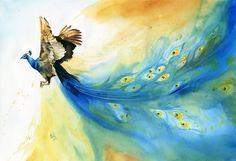 Bethany Cannon Art Studios   Watercolor Peacock Flying