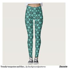 Trendy turquoise blue and black aztec tribal pattern leggings. Cute tights and gym pants.
