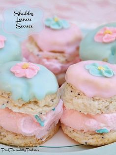 Pink Piccadilly Pastries: Shabby Lemon Scones for a Pretty Cream Tea - recipe + instructions on making colored sprinkles Lemon Scones, Cream Scones, Cupcakes, Cupcake Cakes, Cream Tea, Lemon Cream, How To Make Scones, Clotted Cream, Tea Recipes