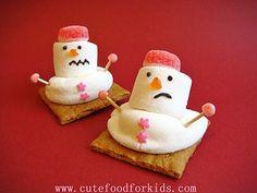 Melting snowman smores.