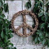 Driftwood peace sign wreath