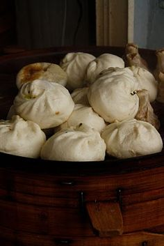 Bao Zi - My Dad would bring home Char Siu Bao from Chinatown when I was a girl - we loved these steamed for breakfast.. I make them homemade now.  :)