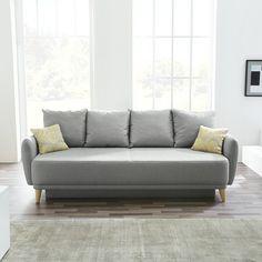 Schlafsofa  Schlafsofa Latina - Webstoff - Grau - 150 cm | Schlafsofas unter ...